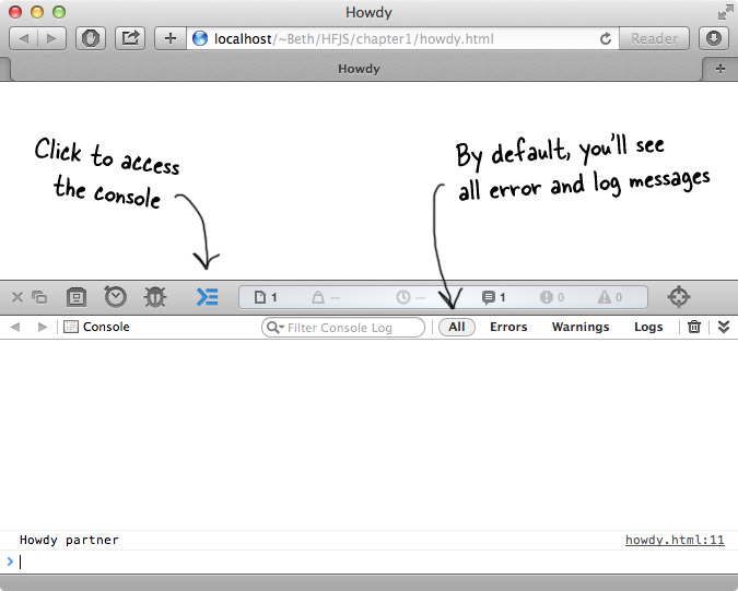 Safari Console, with annotations