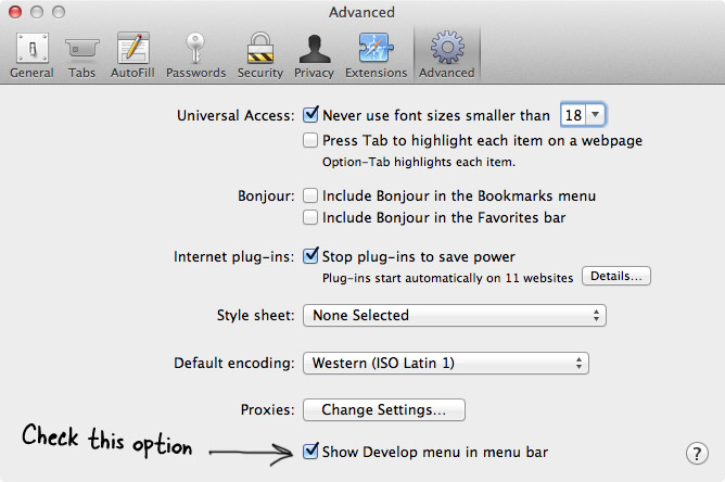 Safari Preferences Pane - Advanced Tab
