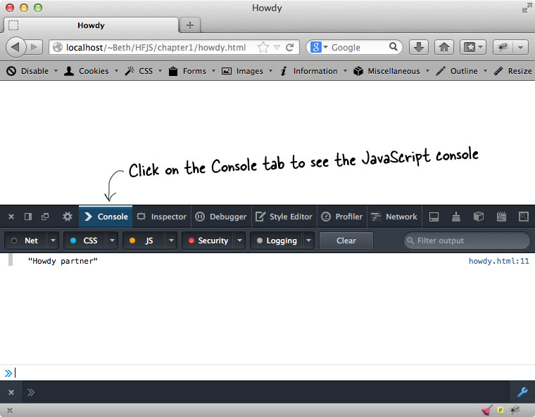 Firefox Console