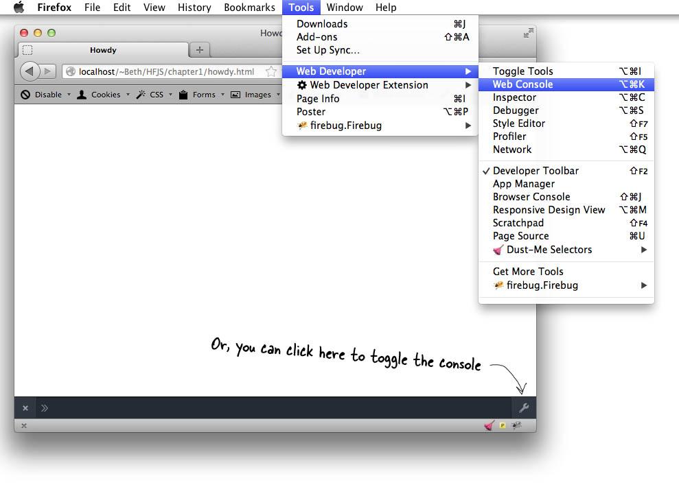Firefox Console menu