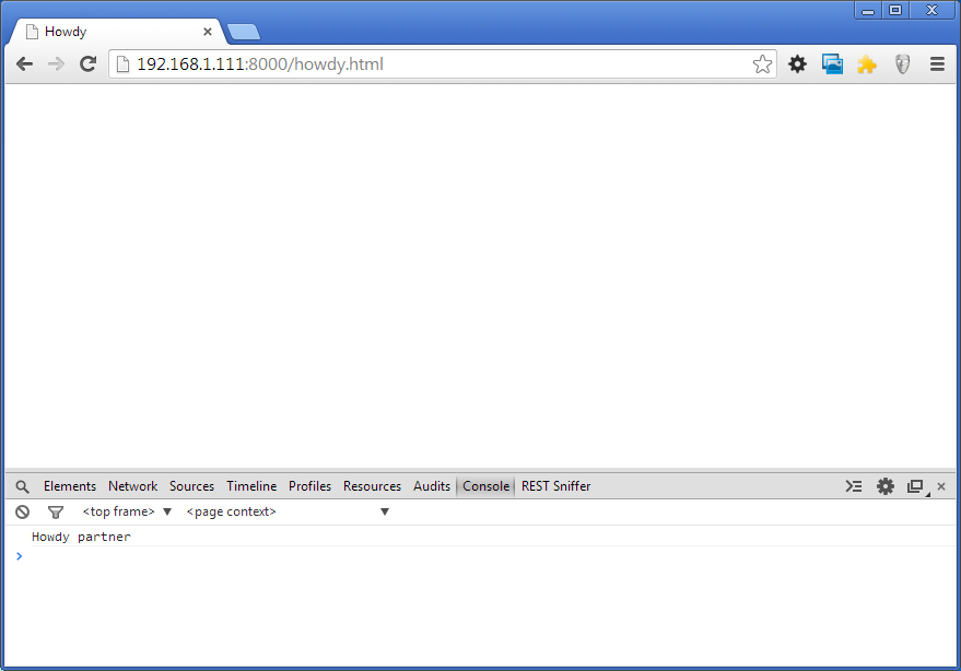 Chrome showing console with output