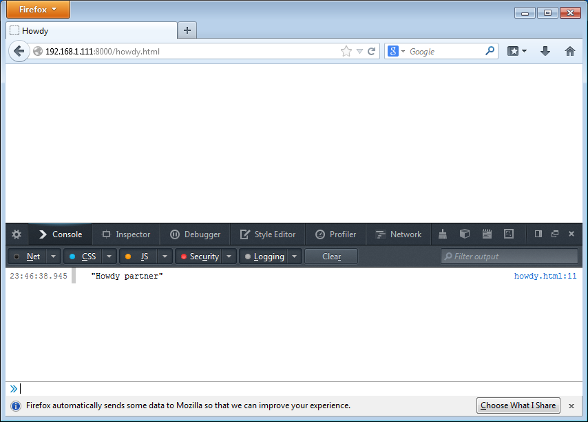 Firefox showing console with output
