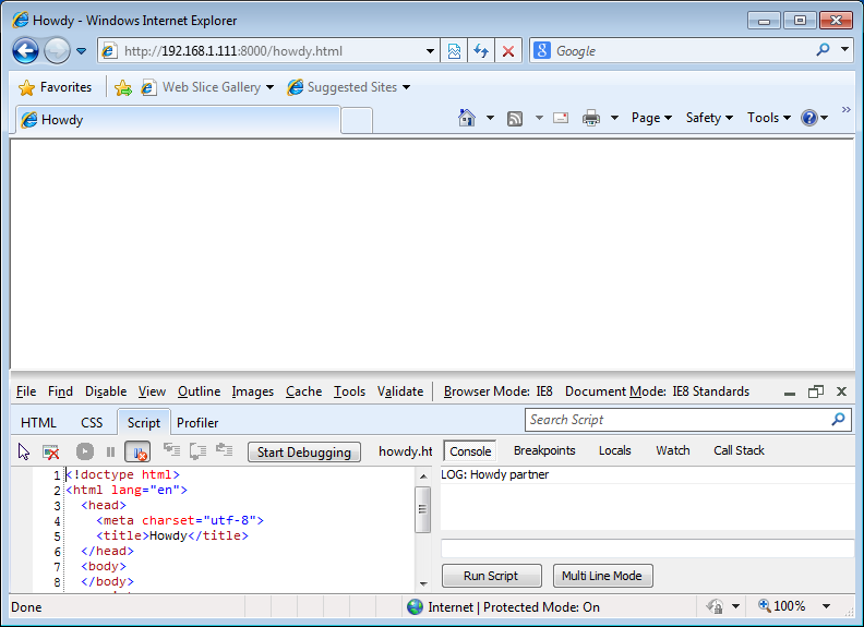 IE showing console with output